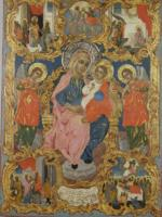 Virgin Mary Enthroned with scenes of her life