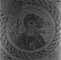 Press and Information Office, Republic of Cyprus: Kourion, Annex of Eustolios, central hall of the baths, mosaic floor with bust of Ktisis (2B-070-001)