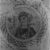 Press and Information Office, Republic of Cyprus: Kourion, Annex of Eustolios, central hall of the baths, mosaic floor with bust of Ktisis (2B-070-005)