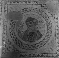 Press and Information Office, Republic of Cyprus: Kourion, Annex of Eustolios, central hall of the baths, mosaic floor with bust of Ktisis (2B-070-006)